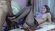 Leggy broad in nylon stockings makes her lover moan in pleasure